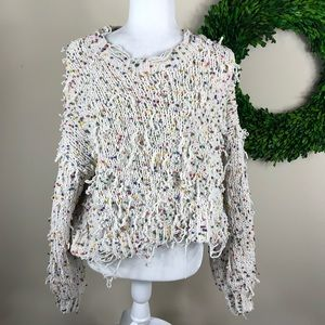 POL | Chunky Knit Confetti Sweater Distressed Med